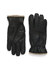 Saks Fifth Avenue Cashmere Leather Gloves Black