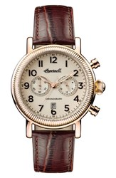 Ingersoll Watches Men's Daniells Chronograph Leather Strap Watch 44Mm Brown Cream Rose Gold