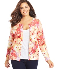 Charter Club Plus Size Long Sleeve Floral Print Cardigan