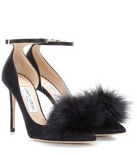 Jimmy Choo Rosa 100 Satin Pumps With Clip On Fur Pompoms Black