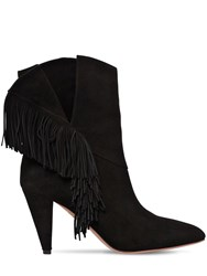 Aquazzura 85Mm Wild Fringed Suede Ankle Boots Black