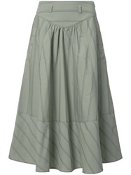 Maison Mayle Striped A Line Skirt Green