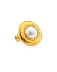 Gurhan Round Mabe Pearl Cocktail Ring W Diamonds Size 6.5