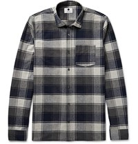 Nn.07 Pedro Checked Brushed Cotton Flannel Shirt Blue