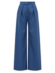Vika Gazinskaya High Rise Wool Twill Palazzo Trousers Blue