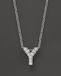 Roberto Coin 18K White Gold Love Letter Initial Pendant Necklace 16 Y