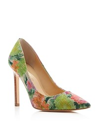 Ivanka Trump Carra Pointed Toe High Heel Pumps Green Pink