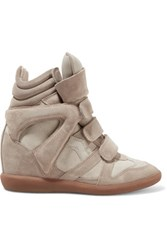 Isabel Marant The Bekett Suede And Leather Wedge Sneakers Mushroom
