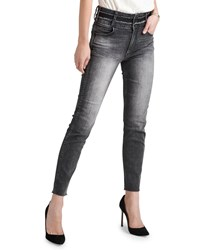 Hudson Holly Vintage High Rise Cropped Skinny With Stacked Waistband Gray