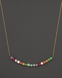 Ippolita Rock Candy 18K Gold Mini Stone Curved Bar Necklace In Summer Rainbow 16 No Color