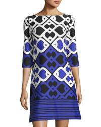 Taylor Printed Ponte Shift Dress Blue Pattern