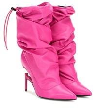 Unravel Leather Ankle Boots Pink