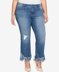 William Rast Trendy Plus Size Frayed Hem Kick Flare Jeans Side To Side