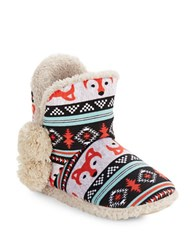 Kensie Sherpa Lined Fox Print Bootie Slippers Teal Multi