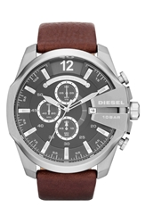 Diesel 'Mega Chief' Leather Strap Watch 51Mm Brown Silver