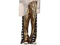 Faith Connexion Logo Striped Sequin Embellished Track Pants Gold