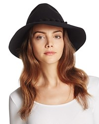 August Accessories It Girl Wool Fedora With Pompom Trim Black