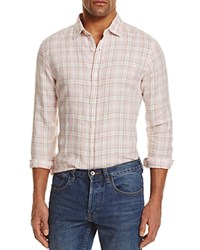 Bloomingdale's The Men's Store At Linen Plaid Regular Fit Button Down Shirt Blossom Pink