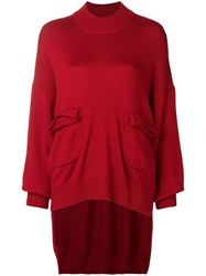 Y's Loose Sweater With Pockets Red