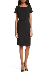 Boss Dilya Belted Ballet Neck Sheath Dress Black