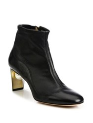 Nicholas Kirkwood Maeva Pearly Heel Leather Booties Black