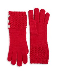 Michael Michael Kors Cable Knit Button Gloves Red