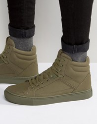 Asos High Top Trainers In Khaki Khaki Green