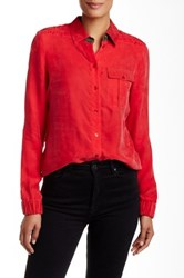 L.A.M.B. Buttoned Quilted Detail Shirt Red