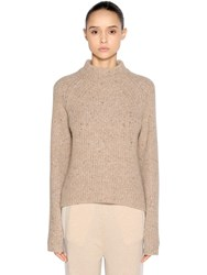 Agnona Wool And Cashmere Blend Sweater Beige