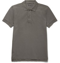Tom Ford Garment Dyed Cotton Pique Polo Shirt Gray