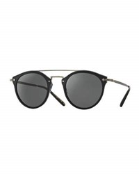 Oliver Peoples Remick Mirrored Brow Bar Sunglasses Semi Matte Black Antique Pewter