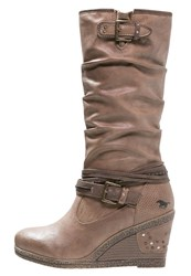 Mustang Wedge Boots Natur Brown