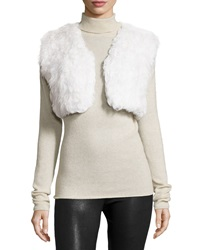 Gorski Cropped Lamb Fur Knit Vest White