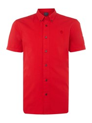 Perry Ellis Men's America Button Through Short Sleeve Cotton Shirt Red