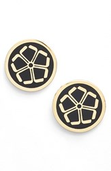 Women's Trina Turk 'Floret' Button Stud Earrings Black