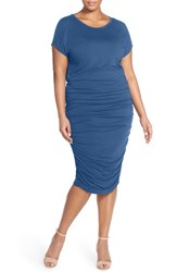 Plus Size Women's Vince Camuto Side Ruched Midi Dress Blue Globe