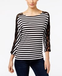 Inc International Concepts Striped Crocheted Sleeve Top Only At Macy's Deep Black