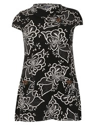 Samya Plus Size Floral Cowl Neck Top Black