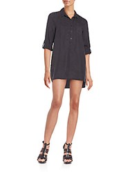 Saks Fifth Avenue Red Shoshana Roll Tab Sleeve Shirtdress Black