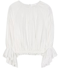 Chloe Silk Crepe De Chine Blouse White