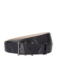 Valentino Tonal Camo Leather And Canvas Belt Unisex Black