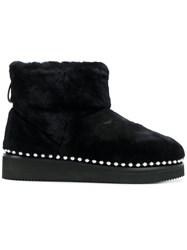 Alexander Wang Fur Boots With Studded Trim Lamb Fur Rubber Black