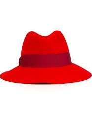 Emilio Pucci Contrasted Band Fedora Hat Red