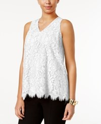 Alfani Floral Lace Top Only At Macy's Soft White