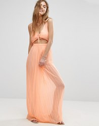 Asos Pleated Beach Maxi Dress With Strapping Orange