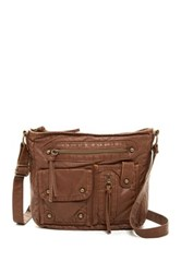 T Shirt And Jeans Multi Pocket Crossbody Brown