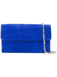 Casadei Chain Flap Bag Women Chamois Leather Satin One Size Blue