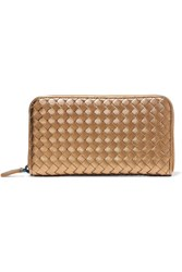 Bottega Veneta Metallic Intrecciato Leather Continental Wallet Gold