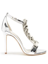 Olgana Paris La Delicate T Bar Leather Sandals Silver