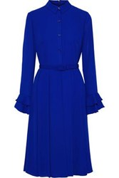 Mikael Aghal Woman Belted Pleated Crepe Dress Royal Blue